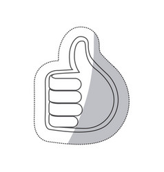 sticker grayscale contour with 3d hand with signal vector image