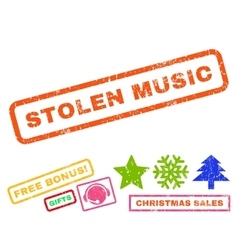 Stolen music rubber stamp vector
