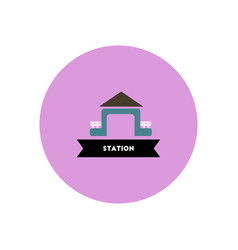 Stylish icon in color circle building station vector