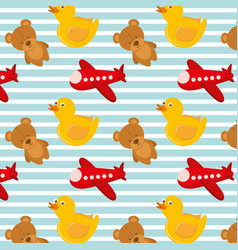 Toys airplane teddy and rubber duck bakground vector