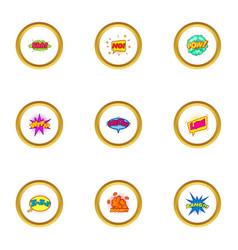 trendy speech bubble icons set cartoon style vector image