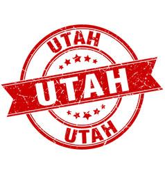 Utah red round grunge vintage ribbon stamp vector