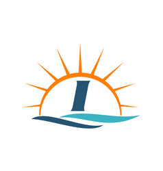 Wave sunset initial i vector