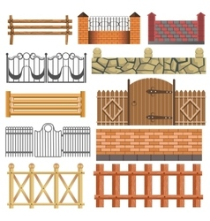 Set of different fence design vector image