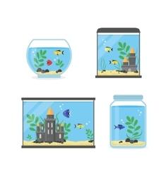 Glass Aquarium Set for Interior Home vector image