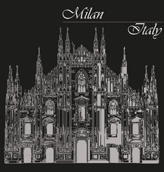 Milan cathedral in italy on black background vector