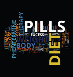 Lose weight rapidly with diet pills therapy text vector