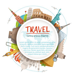 Different world landmarks in circle shape design vector