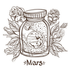 Mars in a glass jar the planet of the solar vector