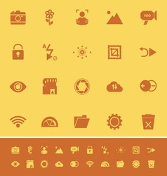 Photography sign color icons on orange background vector