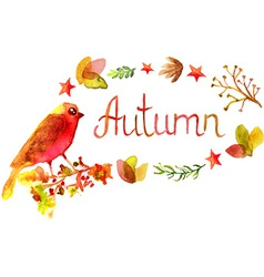 Hand drawn autumn watercolor leaves frame vector