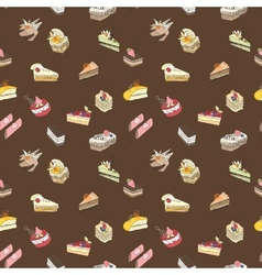 Brown sweet cake pattern vector image