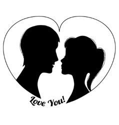 Silhouettes of couple in the heart shape vector