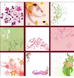 set of floral patterns background vector image