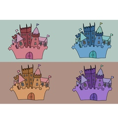 Castle set art background building vector