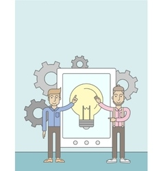 Two businessman holding a big tablet with bulb vector