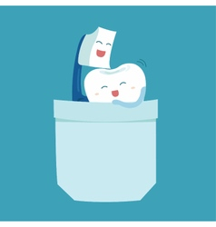 Toothbrush and tooth sweet love vector