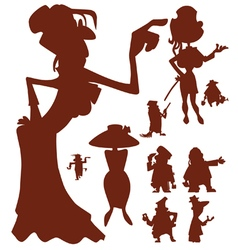 Silhouettes of cartoon characters of men and women vector