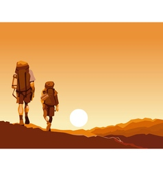 couple of tourists with backpacks go on an orange vector image