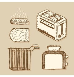 Toaster vintage style hand drawn pen and ink vector