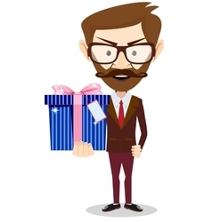 Young successful businessman gives a gift vector