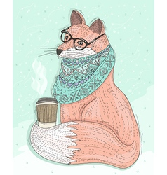 Cute hipster fox with glasses drinking hot coffee vector