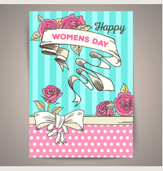 8 march womens day vintage card vector