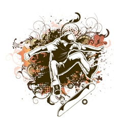 skater with grunge and floral vector image