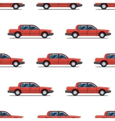 Seamless pattern of red cars limo sedans vector