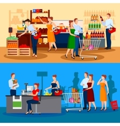 Customers of supermarket compositions vector