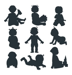 Baby kids silhouette vector