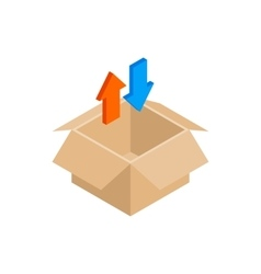 Blank cardboard box and arrows icon vector image