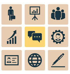 Business icons set collection of work man vector