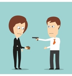 Businessman robs business woman with a handgun vector