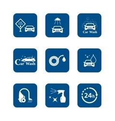 Car wash blue icon set vector