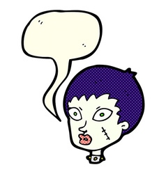 cartoon female zombie head with speech bubble vector image