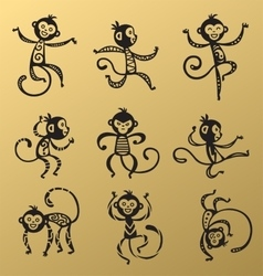 Chinese New Year monkey decoration icons vector image vector image