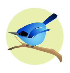 Colorful blue bird on a branch side profile vector