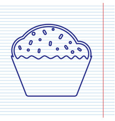 Cupcake sign navy line icon on notebook vector