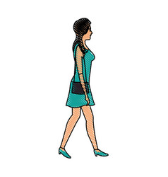 Drawing woman walking with green dress and purse vector