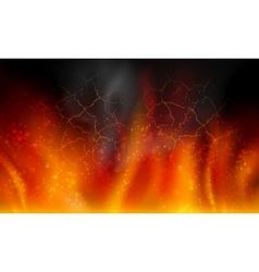 fire on a black background vector image