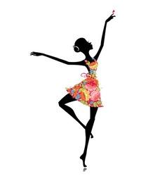 Flower Sihoutte ballerina vector image