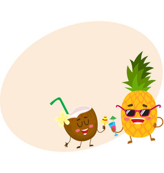 Funny pineapple and coconut characters drinking vector