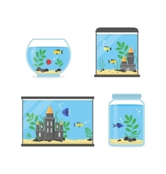 Glass aquarium set for interior home vector