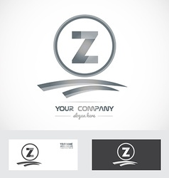 Letter z silver grey logo icon vector