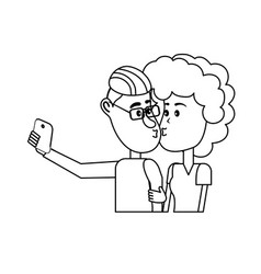 Line couple kissing and taking selfie with vector