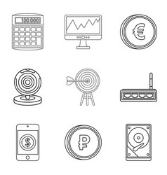 Market evaluation icons set outline style vector
