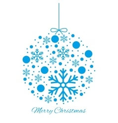Merry christmas ball blue ornament vector