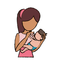 mother holding her son character vector image