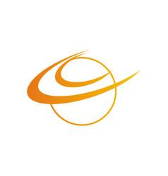Round orbit planet logo vector